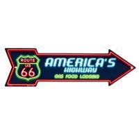 ルート66 アローカット ネオンカラー ドライブイン 矢印型 アメリカンブリキ看板