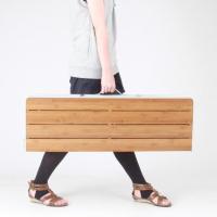 軽量、強度も充分な竹材を天板に使用。ナチュラルな雰囲気のキャンプサイトを演出します。脚を付け替え、高...