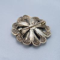 ポルトガル製 銀線細工ブローチ 七宝とシルバーの2重花|vivace-yokohama|04