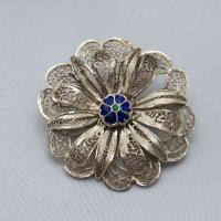 ポルトガル製 銀線細工ブローチ 七宝とシルバーの2重花|vivace-yokohama|05