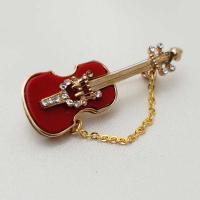 ブローチ  アメリア製 ギター 赤・小|vivace-yokohama