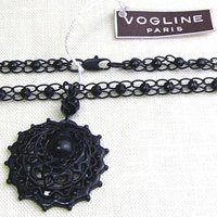 ネックレス フランス製 ブラック ペンダント 黒|vivace-yokohama|03