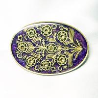 ブローチ  イタリア製 西洋七宝 古美 楕円 パープル|vivace-yokohama
