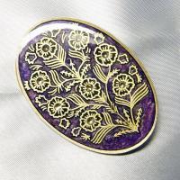 ブローチ  イタリア製 西洋七宝 古美 楕円 パープル|vivace-yokohama|02
