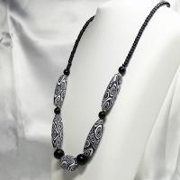 ネックレス イタリア製ベネチアングラス ロング マット仕上げ 白・黒|vivace-yokohama|02