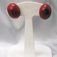 イタリア製アクセサリー ベネチアングラスのクリップイヤリング赤 ボタンS |vivace-yokohama
