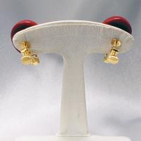 イタリア製アクセサリー ベネチアングラスのクリップイヤリング赤 ボタンS |vivace-yokohama|03