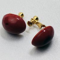 イタリア製アクセサリー ベネチアングラスのクリップイヤリング赤 ボタンS |vivace-yokohama|04