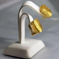 イヤリング イタリア製 ベネチアングラス 角 ゴールド24金箔|vivace-yokohama|02
