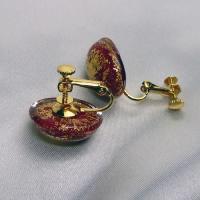 イタリア製ベネチアンビーズ赤と金のクリップイヤリング|vivace-yokohama|04