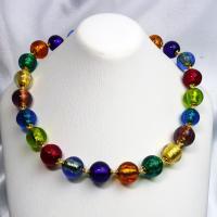 ネックレス イタリア製ベネチアングラス 糸結び マルチ9色 |vivace-yokohama