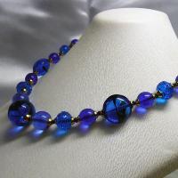 ネックレス イタリア製ベネチアングラス 糸結び 45cm ブルー|vivace-yokohama|02