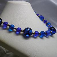 ネックレス イタリア製ベネチアングラス 糸結び 45cm ブルー|vivace-yokohama|03