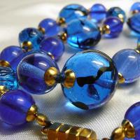 ネックレス イタリア製ベネチアングラス 糸結び 45cm ブルー|vivace-yokohama|05