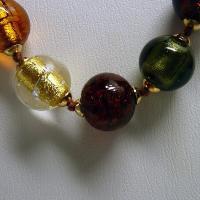 ネックレス イタリア製ベネチアングラス ロング 糸結び ブラウンmix|vivace-yokohama|04