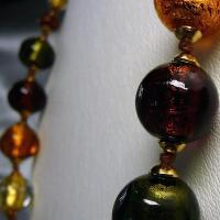 ネックレス イタリア製ベネチアングラス ロング 糸結び ブラウンmix|vivace-yokohama|05
