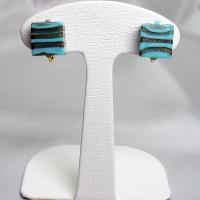 イヤリング イタリア製 ベネチアングラス k24箔入り 四角小 茶金・青|vivace-yokohama
