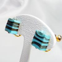 イヤリング イタリア製 ベネチアングラス k24箔入り 四角小 茶金・青|vivace-yokohama|03