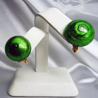 イヤリング  イタリア製  ベネチアングラス  ボタン グリーン|vivace-yokohama
