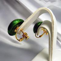 イヤリング  イタリア製  ベネチアングラス  ボタン グリーン|vivace-yokohama|04