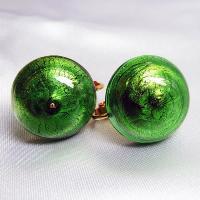 イヤリング  イタリア製  ベネチアングラス  ボタン グリーン|vivace-yokohama|06