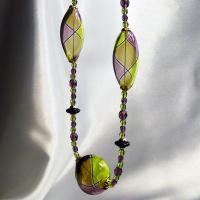 ネックレス イタリア製ベネチアングラス 吹きガラス レース グリーン・パープル|vivace-yokohama|06
