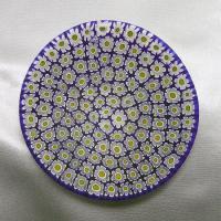 ベネチアングラス皿(小)ミルフィオーリ(白/黄)|vivace-yokohama