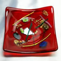 赤皿 イタリア製 ベネチアングラスミルフィオーリビーズ 皿 角大 赤|vivace-yokohama