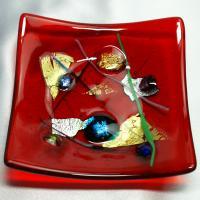 モザイコ皿 イタリア製雑貨 ベネチアングラス ミルフィオーリ皿・プレート 角大 赤|vivace-yokohama