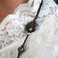 イタリア製アクセサリー ベネチアングラスビーズ ロングネックレスとイヤリングのセット 茶金|vivace-yokohama|05