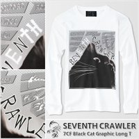 メンズ 長袖Tシャツ【7CF Black Cat Graphic Long T】