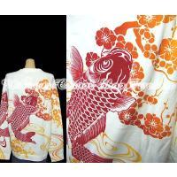【送料無料】絡繰魂流水赤梅鯉フロッキー長袖Tシャツ-XLサイズ(メンズ和柄ファッションブランド)