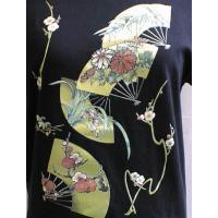 「ひらり、はらり、パタパタ、ひらり」 半袖 長袖 五分丈 七分丈 和柄 Tシャツ  扇  大きいサイズ メンズ  LL,3L,4L,5L,6L,7L