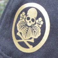 和柄キャップ「キラキラスカル・紋付髑髏」ビンテージ,メッシュ,ドクロ,ガイコツ,メンズ,帽子,CAP,和風,ブラック,