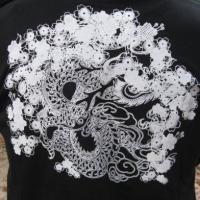 「桜吹雪龍紋」 半袖 長袖 五分丈 七分丈 和柄 Tシャツ 龍 和風 大きいサイズ メンズ LL,3L,4L,5L,6L,7L