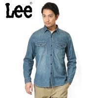 ■商品説明 Lee リー LT0501-146 デニム ワークシャツ 中色ブルーのご紹介です。 品名...
