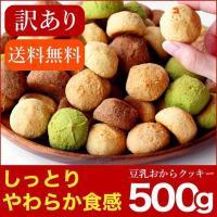 クーポンで5%OFF 訳あり食品 わけあり スイーツ しっとりやわらか 豆乳おからクッキー 500g (250g×2袋)  おからクッキー メール便A TSG 送料無料