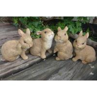 森の仲間たち うさぎの置物4匹セットでございます。森の表情を表現できる可愛いいウサギ達のガーデンオー...