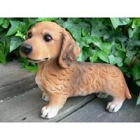 商品詳細商品説明ミニチュアダックスフンド(茶)の犬の置物です。可愛いわんちゃんです。おまけとして首輪...