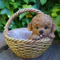 商品詳細商品説明犬の置物 プードルバスケットでございます。バスケットの中の愛らしい眼の子犬が可愛い置...
