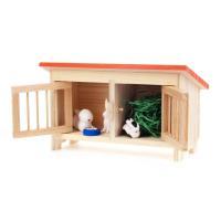 サイズ 約7.5cm(小屋)         約1.5cm(ウサギ)  かわいいウサギの親子と小屋の...