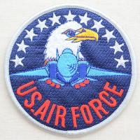 サイズ(約):タテ9.5cm×ヨコ9.5cm  ブルー/ホワイト/レッド。円形。戦闘機・ハクトウワシ...