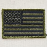 これぞUSA☆とってもシンプルなアメリカ合衆国の国旗(星条旗)の刺繍ワッペン・パッチ。 OD(カーキ...