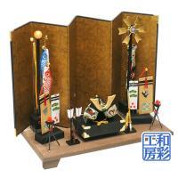 京都の人形工房の老舗『龍虎堂』の手づくり和雑貨、五月人形・端午の節句のお飾りです。木製台の上に、小箔...