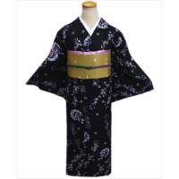 洗える袷着物(小紋)と軽装帯(付け帯)セット黒地枝垂桜輪M L