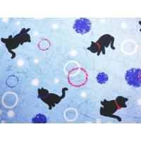 和小物 和柄木玉付平巾着 小物入れ黒猫ドット水色