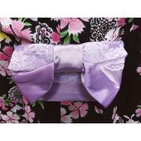キッズ 子供用 結び帯 付け帯 ワンタッチ レース 浴衣 薄紫色