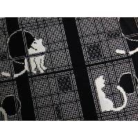 バッグ 手提げ 和柄 織地 着物 お稽古事 モノトーン 猫 ねこ 市松 横型