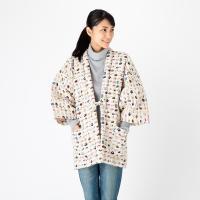 猫柄プリント綿入り久留米袢纏 はんてん 女性用 かわいい ネコ 防寒着 日本製 送料無料