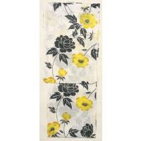 女性用ゆかた・紅梅織り白地黄と黒の花柄(py0a01f)